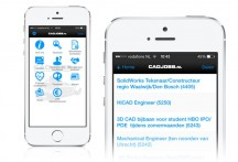 Screenshot van de Cadjobs-app op de iPhone'