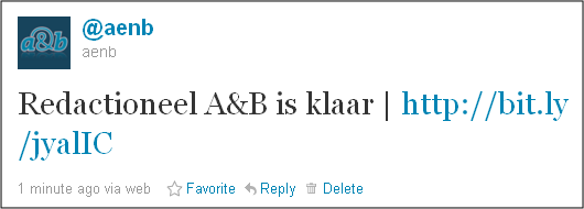 Tweet redactioneel a&b is klaar